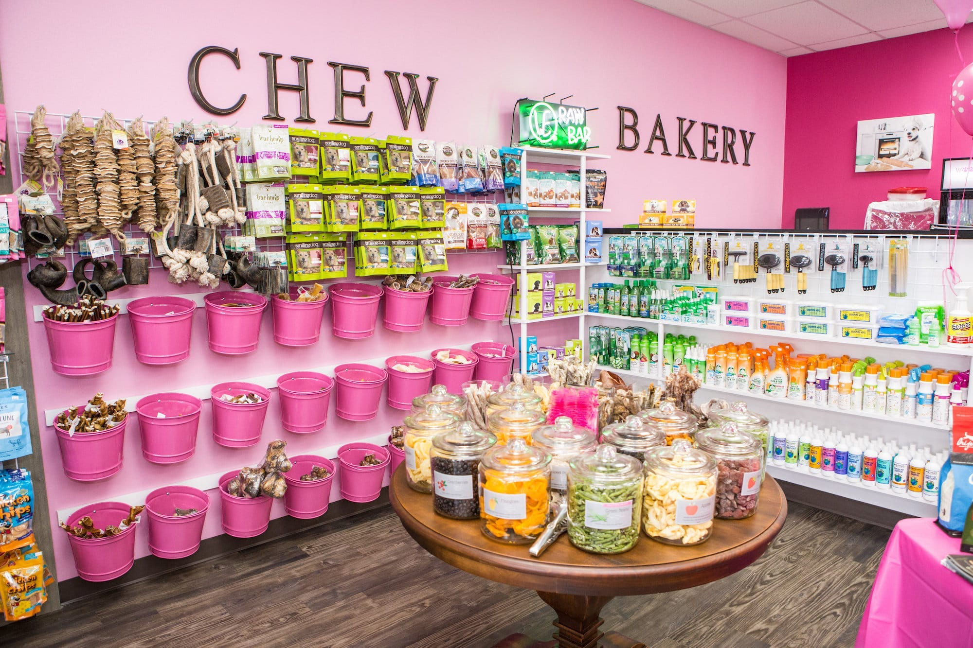 Chew toys, treats, and spa products at Woof Gang Bakery